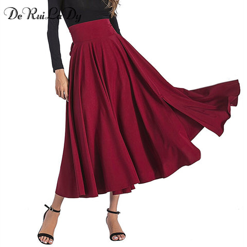 Womens 2018 Black Blue Maxi Vintage Retro High Waist Pleated Belted Long Skirt