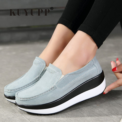 Womens Platform Flat Flats Slip On Leather Loafers Creepers Breathable Casual Shoes