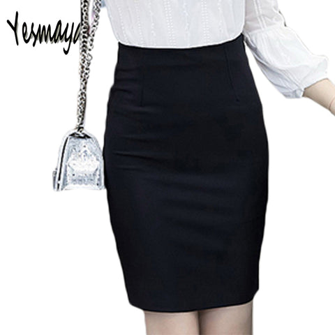 Women's Plus Size Slim Sexy Formal Office Elastic High Waist Black Pencil Skirt