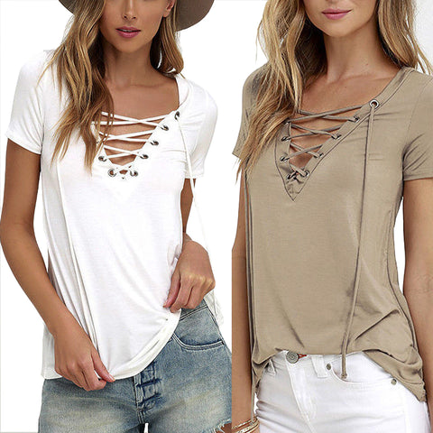 Womens European Fashion Lace Up T Shirt Sexy V Neck Hollow Out Top