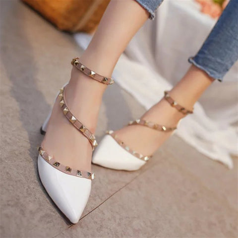 Womens Fashion High Heels Comfortable Ladies Pointed Toe Party Wedding Footwear Buckle Shoes