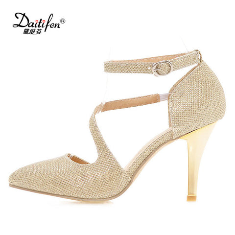 Womens Traditional Buckle High Pumps Gold Silver Bling Zapatos Pointed Toe Sexy Ladies High Heels