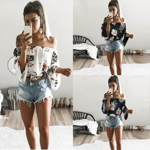 Womens Sexy T-Shirt Tops Tees Print Summer Bohemian Style Shirts Slash Neck Casual Plus Size Shirt