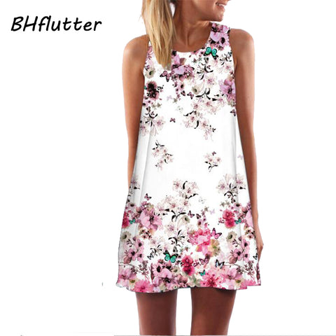 Womens New Summer Style Short Floral Print Casual Chiffon Dress