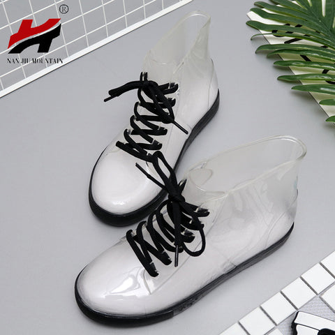 Womens Transparent Rain Waterproof Boots Water Jelly Shoes