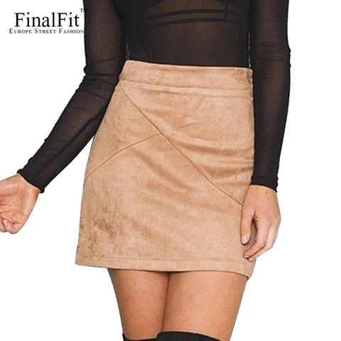 Womens High Waist Pencil Suede Tight Bodycon Sexy Short Mini Skirt