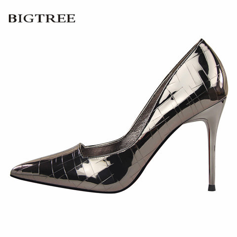 Womens Fashion Pumps Europe Retro High-heeled Shallow Pointed Metal Stone Sexy Slim Club Shoes