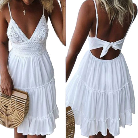 Womens White Summer Spaghetti Strap Bow Sexy V-neck Sleeveless Beach Backless Lace Patchwork Dress