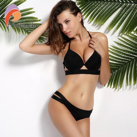 Womens Black Swimsuit Sexy Push Up Swimwear Low Waist Bathing Suit Halter Bikini