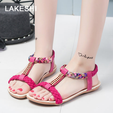 Womens Fashion Flip Flops Shoes Spring Summer Flat Shoes Fashion Beach Sandals