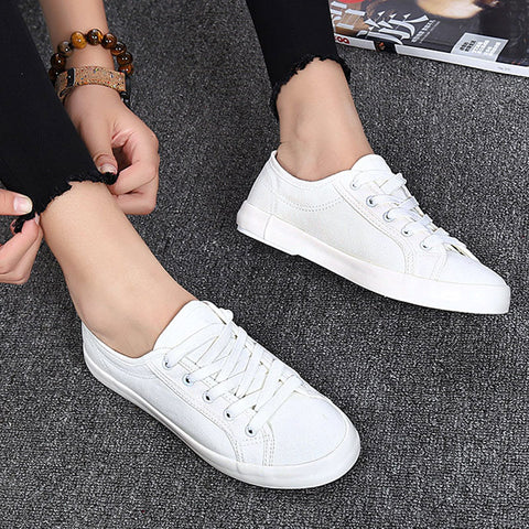 Womens Fashion Casual Vulcanize Lace Up Ladies Canvas Shoe