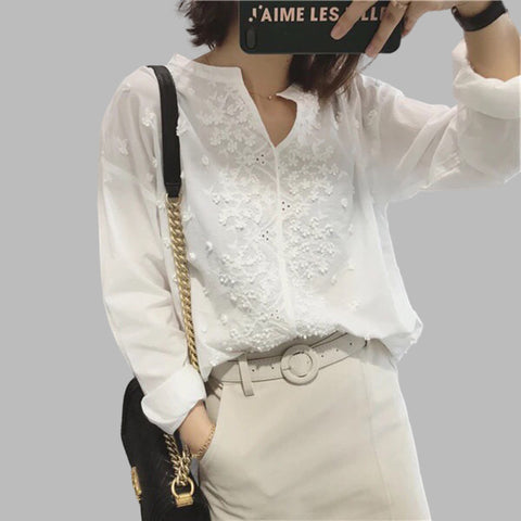 Womens V Neck Floral Embroidery Long Sleeve Cotton Shirt