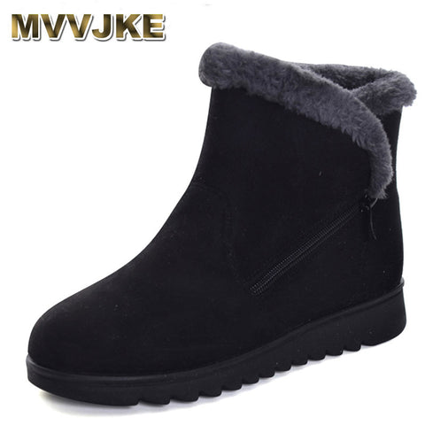 Womens Winter Warm Faux Fur Snow Fashion Solid Ankle Boots