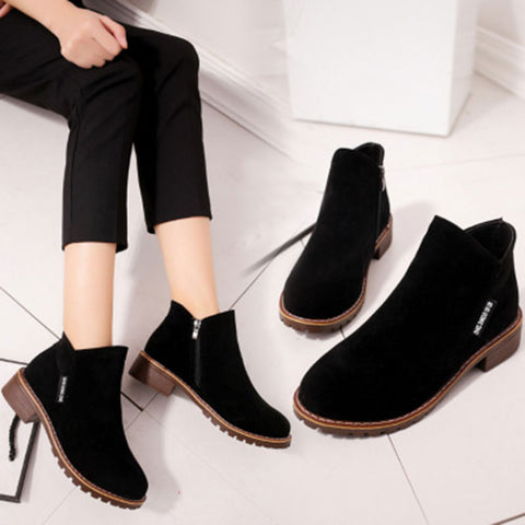 Womens Fashion Black Solid Ankle Zipper Low Heels Shoes Casual Boots
