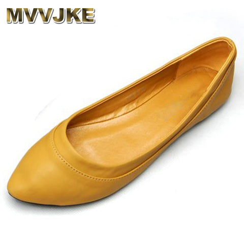 Womens Fashion Soft PU Leather Shallow Flats Comfort Ballerina Shoes