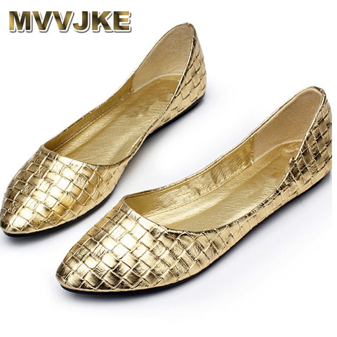 Womens Gold Retro Woven Casual Pointed Toe Ballerina Flats