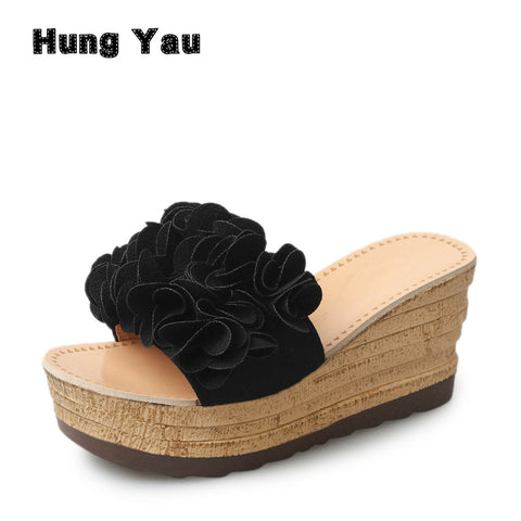 Womens Flowers Wedges Sandals Summer Style Platform Flip Flops Slip On Creepers Casual Shoes