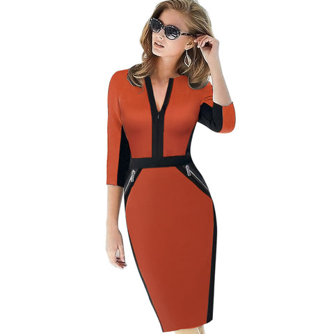 Womens Front Zipper Work Wear Elegant Stretch Dress