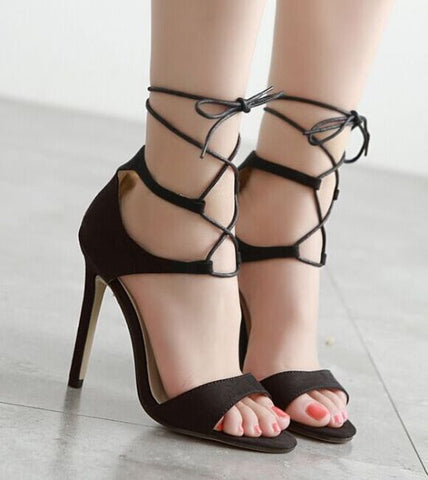 Sexy Lace Sandal Dress High Heels