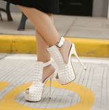 Womens Edgy Peep Toe Ankle Strap High Heels