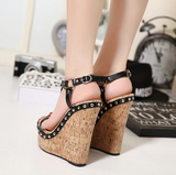 Womens Edgy Ankle Strap Open Toe Wedge Platforms