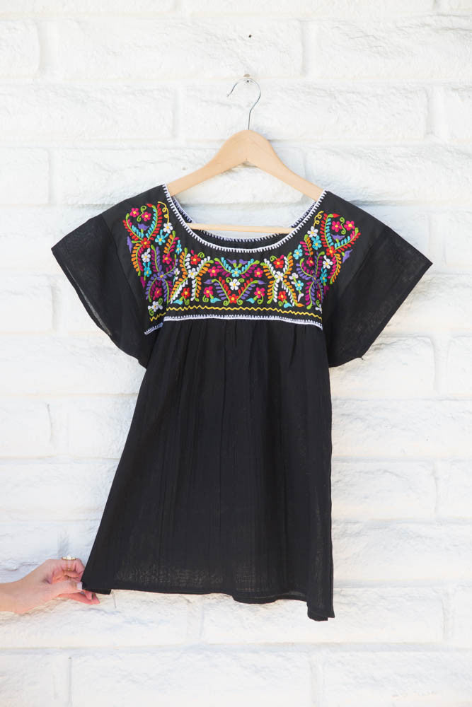 BLACK WITH MULTI COLOR EMBROIDERED TOP