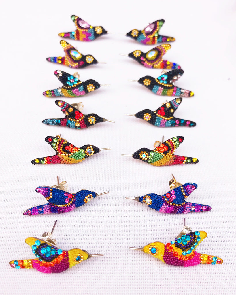 HUMMINGBIRD EARRINGS / BLUE W MUTLI-COLORS