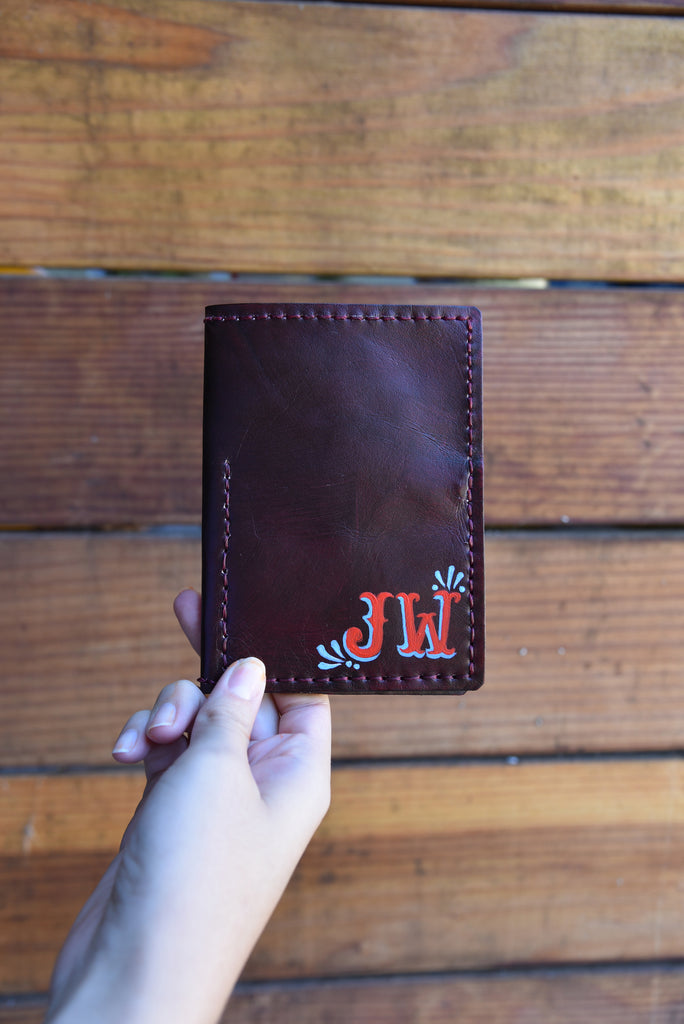 LEATHER PASSPORT CASE // NATURAL W TANGERINE