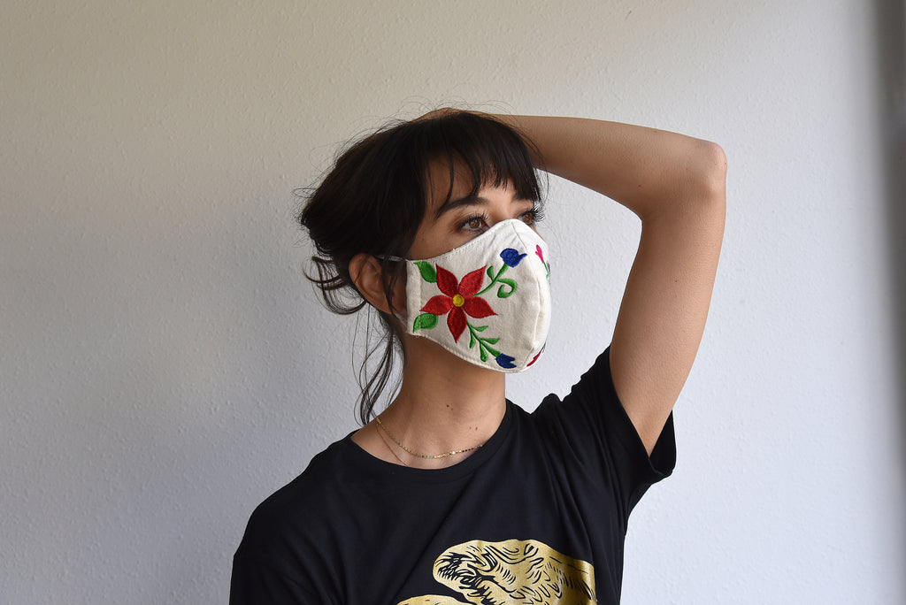 DOUBLE FLORAL/ EMBROIDERED MASK