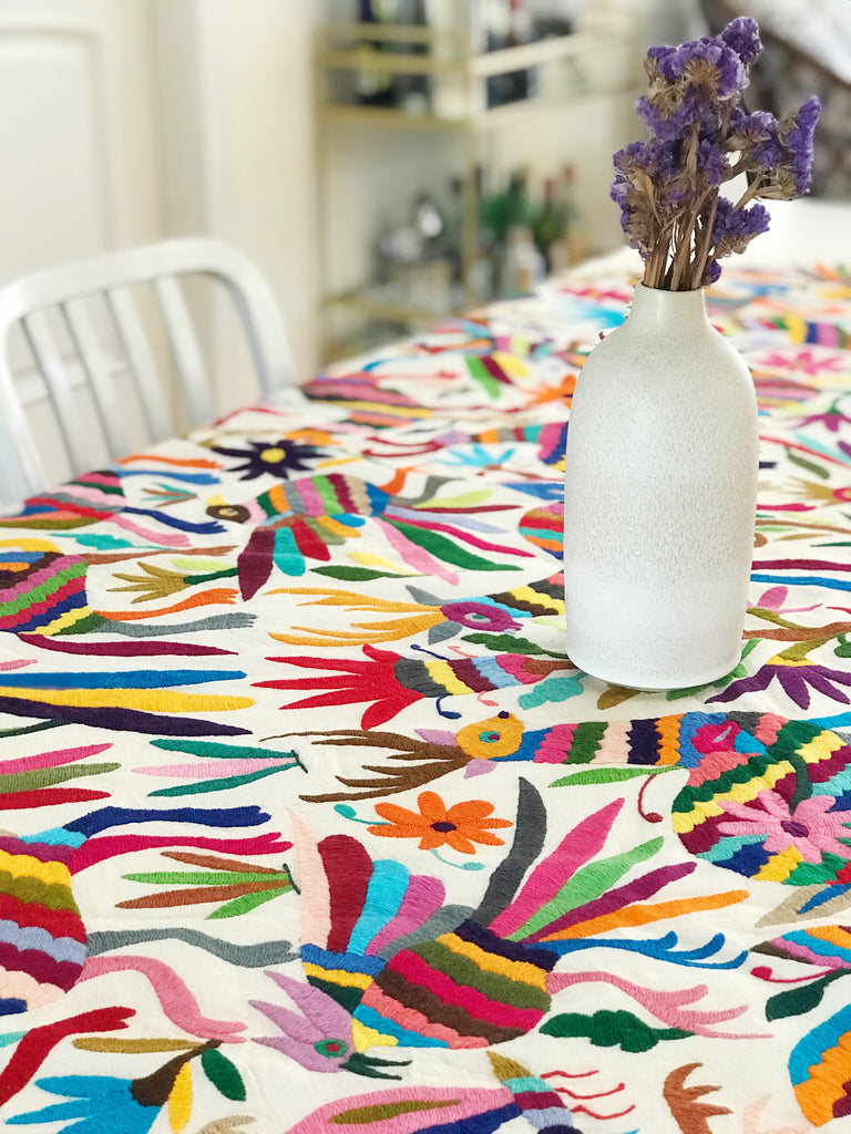 MULTI COLORED OTOMI TAPESTRY TABLECLOTH