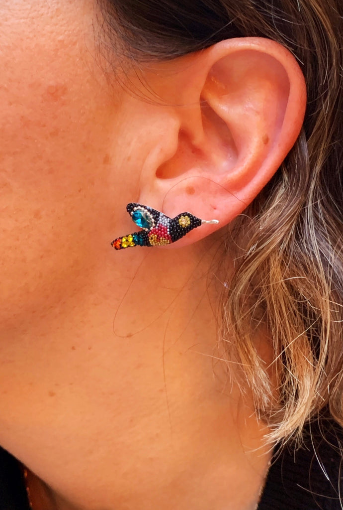 HUMMINGBIRD EARRINGS / BLACK W MUTLI-COLORS