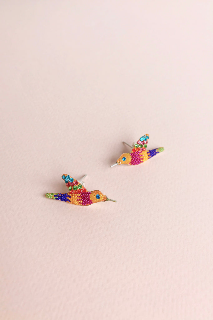 HUMMINGBIRD EARRINGS / YELLOW W MUTLI-COLORS