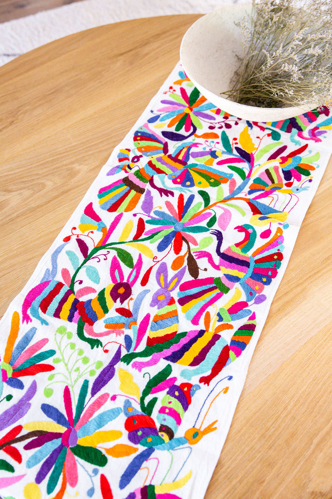 MULTI-COLORED OTOMI TABLE RUNNER