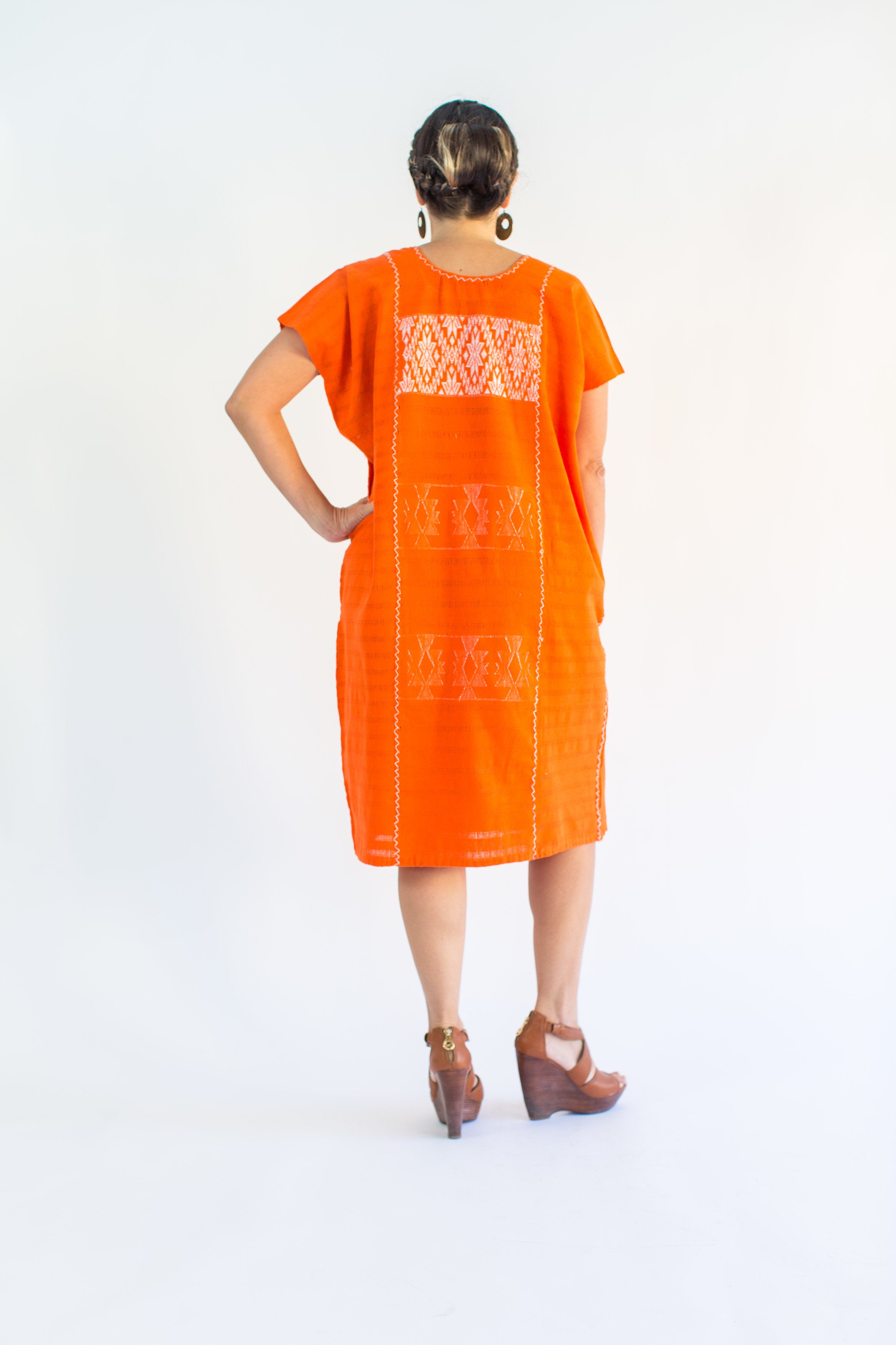 DIANA DRESS / TANGERINE WITH WHITE