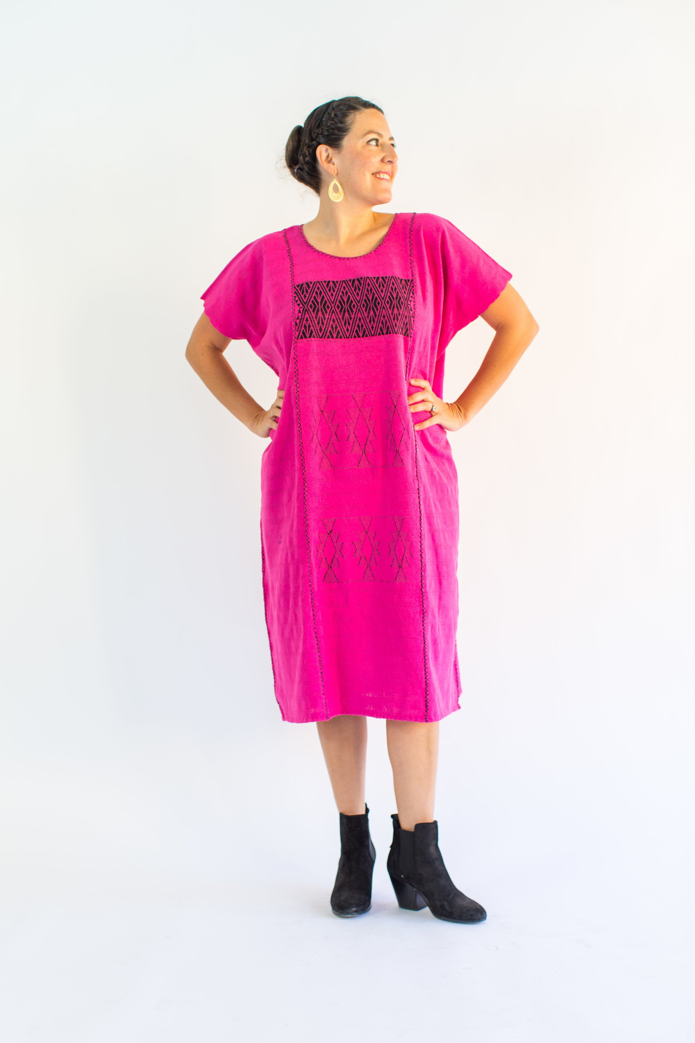DIANA DRESS / HOT PINK WITH BLACK