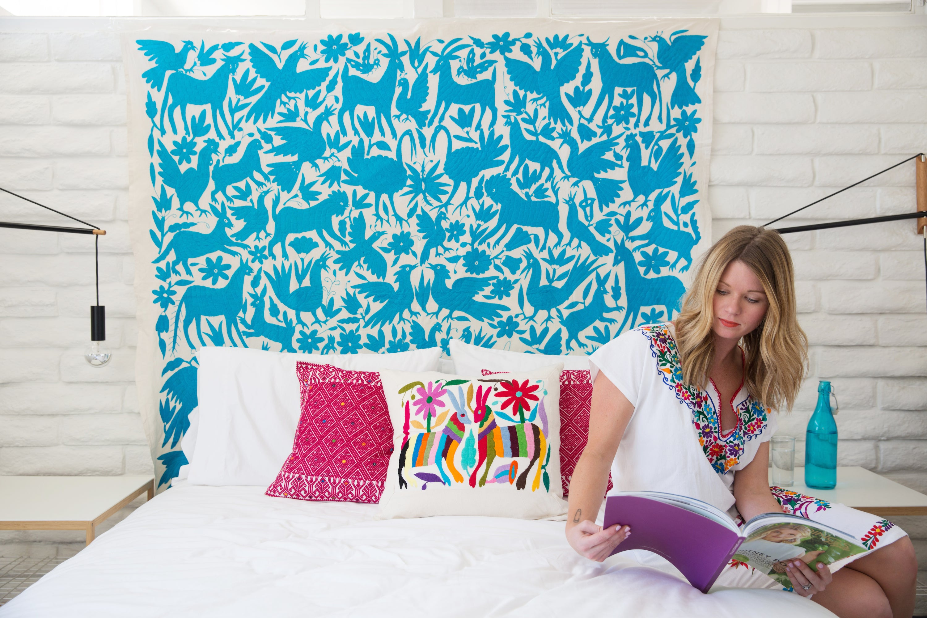 TURQUOISE OTOMI TAPESTRY / TABLECLOTH