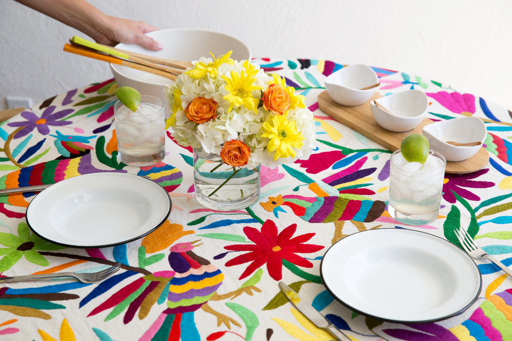 MULTI COLORED OTOMI TAPESTRY / TABLECLOTH
