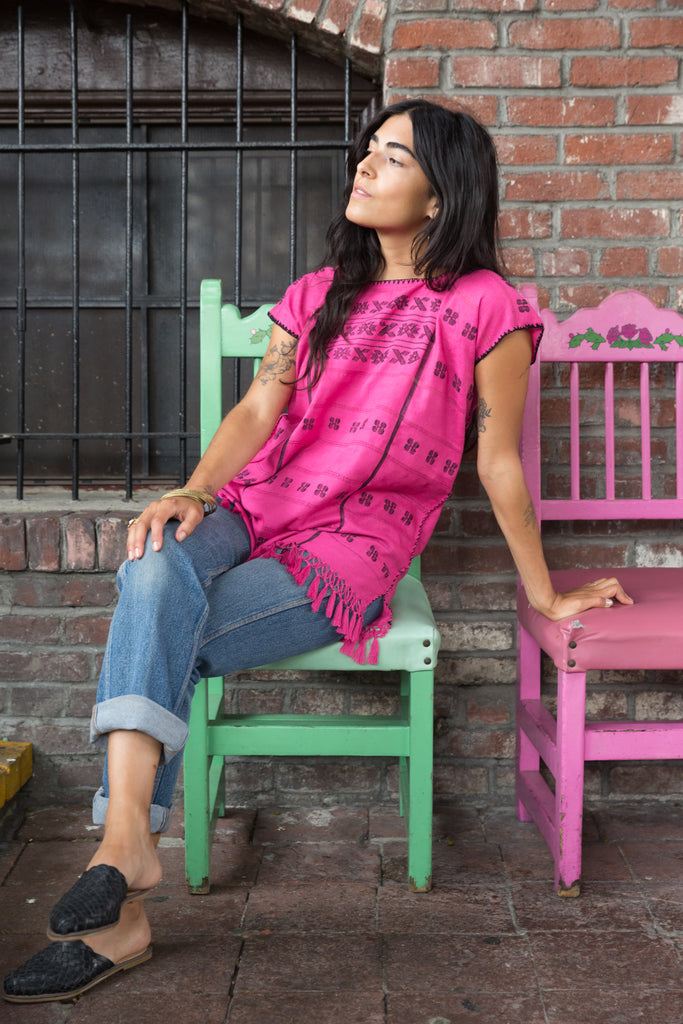 MIXTECA TOP / MAGENTA WITH BLACK