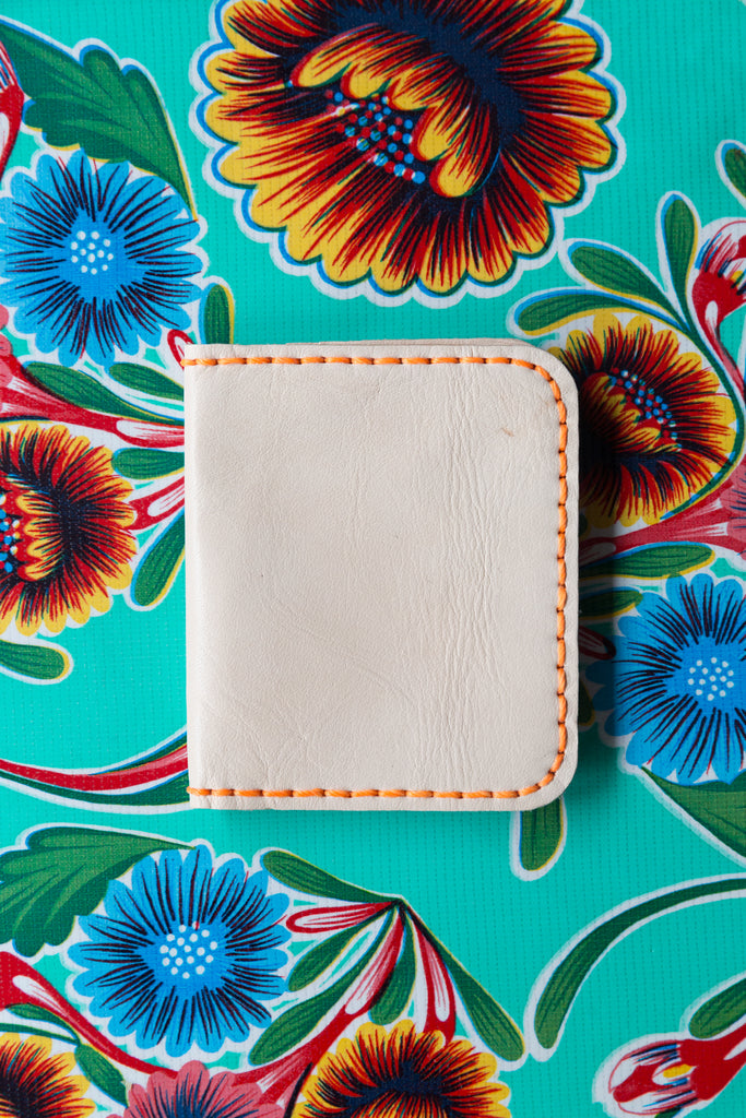 LEATHER CARDHOLDER WALLET // NATURAL + TANGERINE