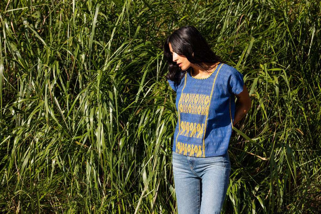 FRANCISCA CROP TOP // BLUE WITH YELLOW
