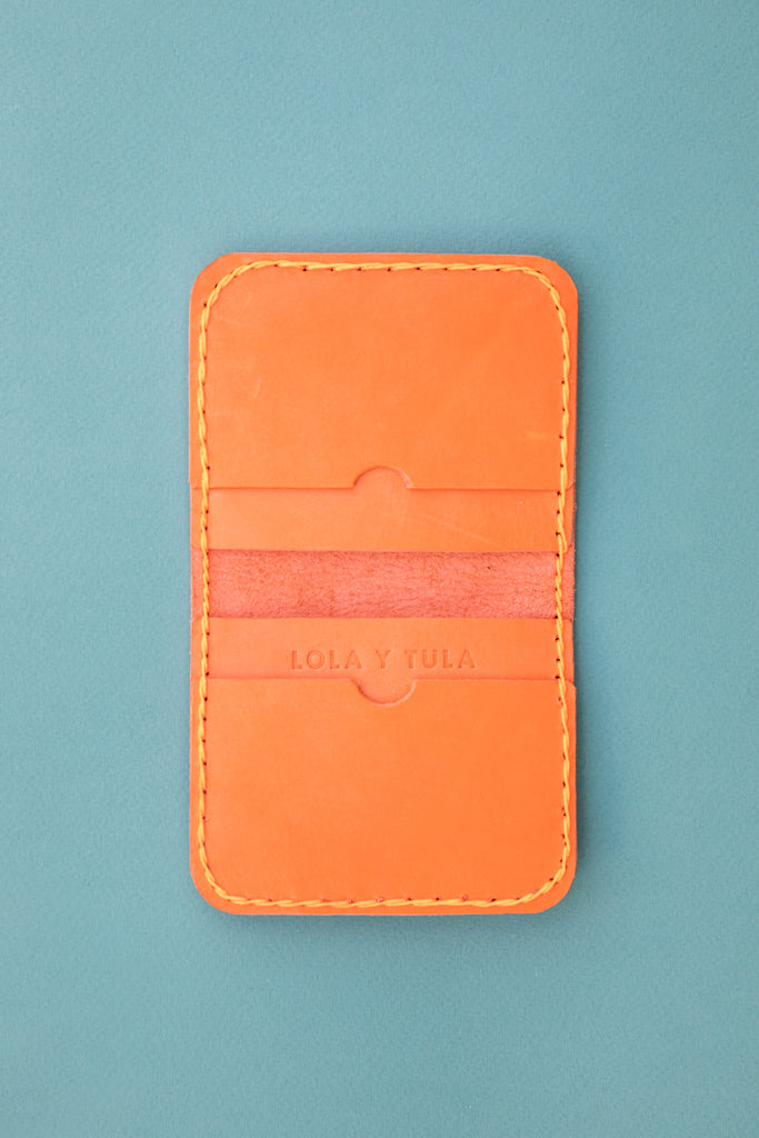 LEATHER CARDHOLDER WALLET // TANGERINE