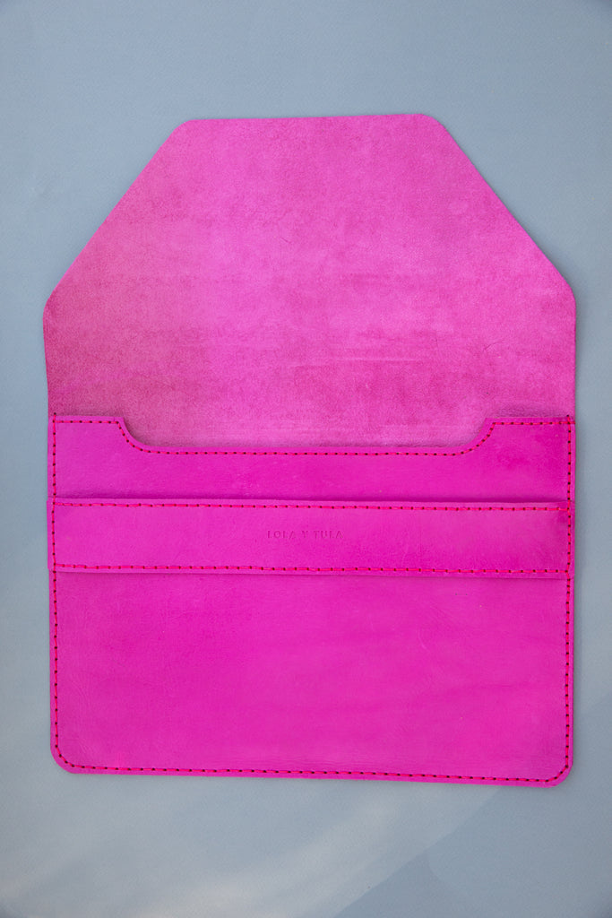 LEATHER LAPTOP SLEEVE // HOT PINK