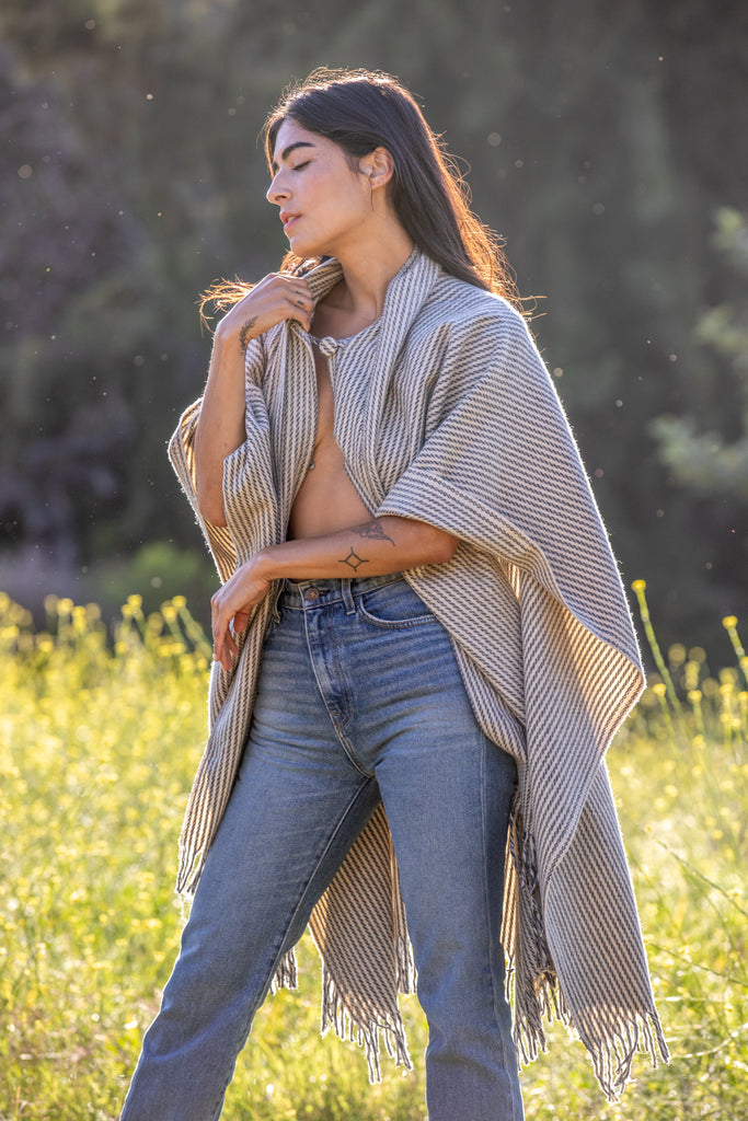 PEWTER STRIPED WOOL SHAWL
