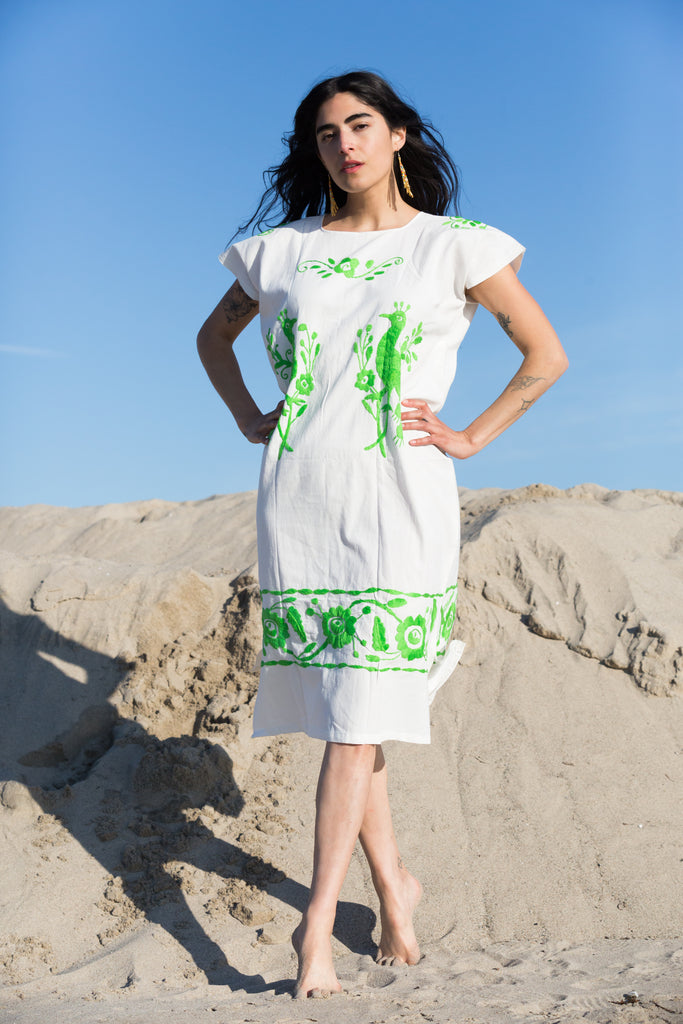 'PAJARO' HUIPIL DRESS, LIME
