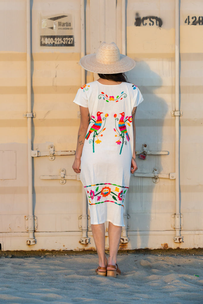 'PAJARO' HAND EMBROIDERED HUIPIL DRESS, MULTI-COLOR