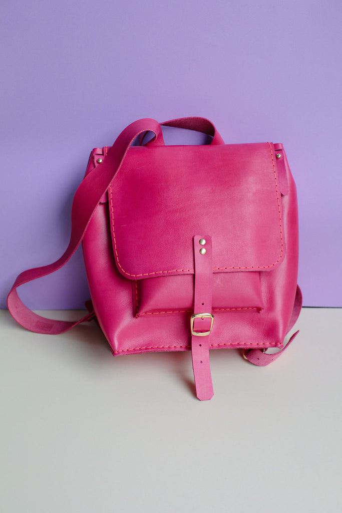 ISA LEATHER BACKPACK // HOT PINK