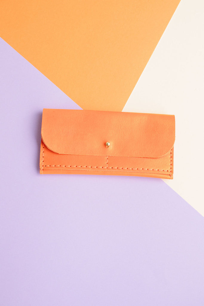 FULL SIZE LEATHER WALLET // TANGERINE
