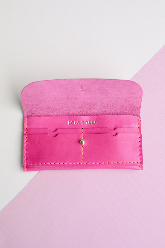 FULL SIZE LEATHER WALLET // HOT PINK