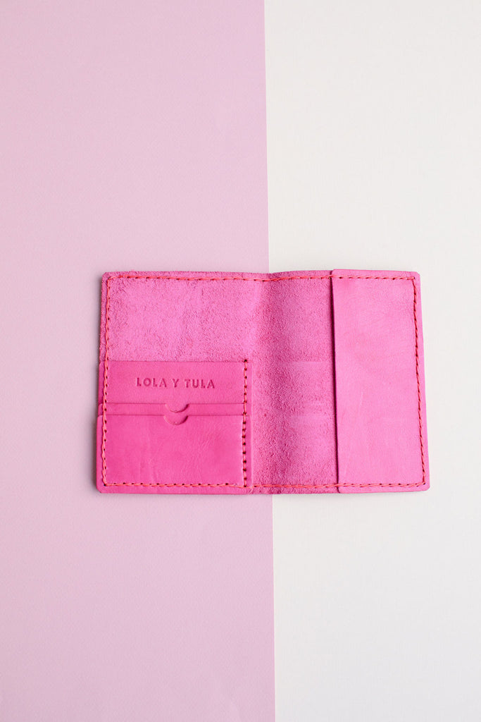 LEATHER PASSPORT CASE // HOT PINK