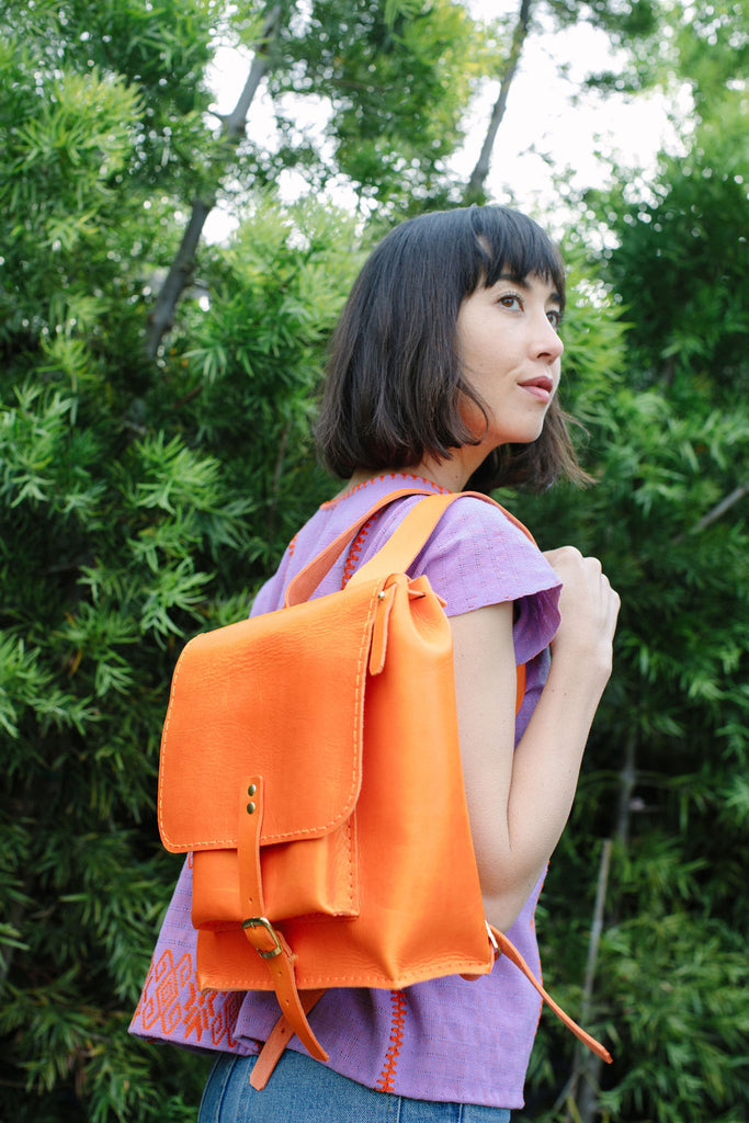 ISA LEATHER BACKPACK // TANGERINE